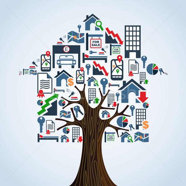 Immobilien Symbole Baum Haus Mietbetrag Symbole Stock foto © cienpies