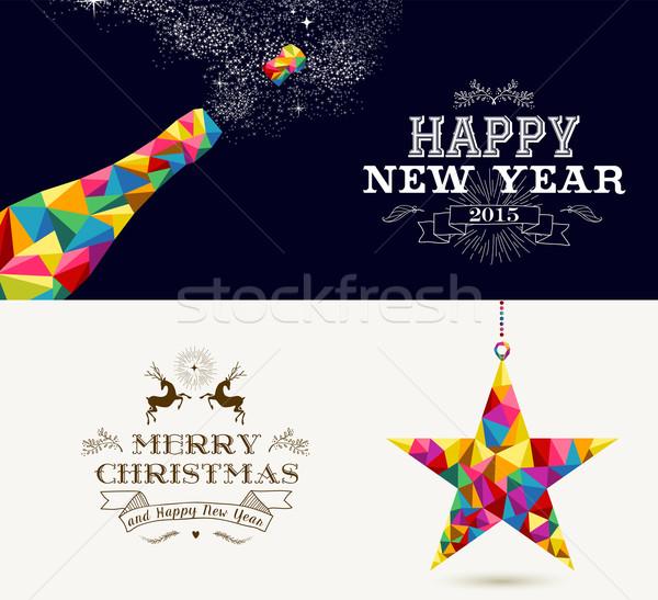 Buon anno allegro Natale vacanze champagne splash Foto d'archivio © cienpies