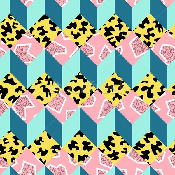 Retro 80s seamless pattern background Stock photo © cienpies