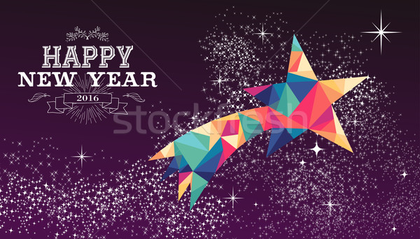 Happy new year 2016 star triangle hipster color Stock photo © cienpies