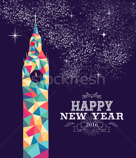 Happy new year 2016 Londres couleur triangle Photo stock © cienpies