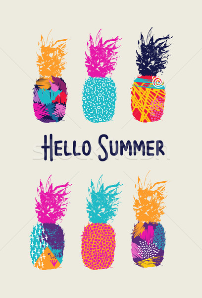 Hello summer color pineapple design in 80s style Stock photo © cienpies