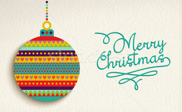 Merry christmas card design with colorful ornament Stock photo © cienpies