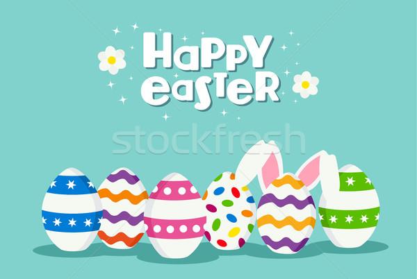 Kellemes húsvétot ünnep kártya tojások nyúl ünneplés Stock fotó © cienpies