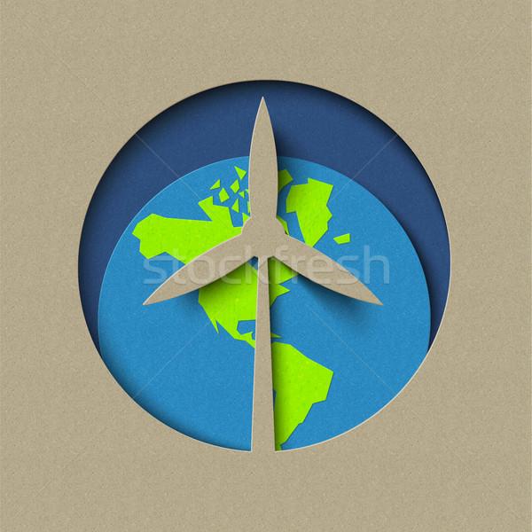 Wind molen groene energie papier gesneden Stockfoto © cienpies