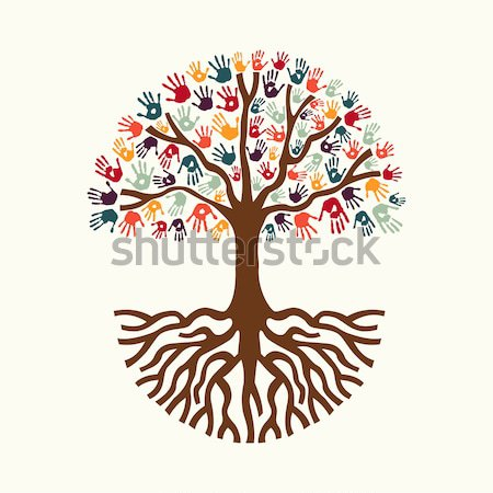 Hand print tree illustration for community help Stock photo © cienpies