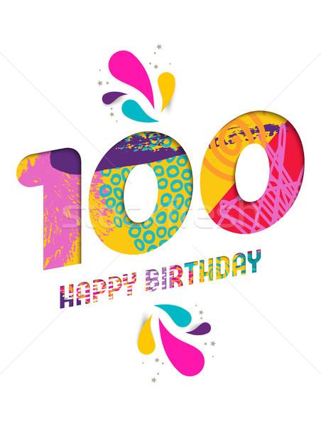 Happy birthday 100 year paper cut greeting card Stock photo © cienpies