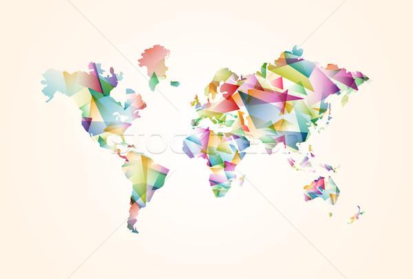 аннотация треугольник Мир карта иллюстрация шаблон красочный Сток-фото © cienpies