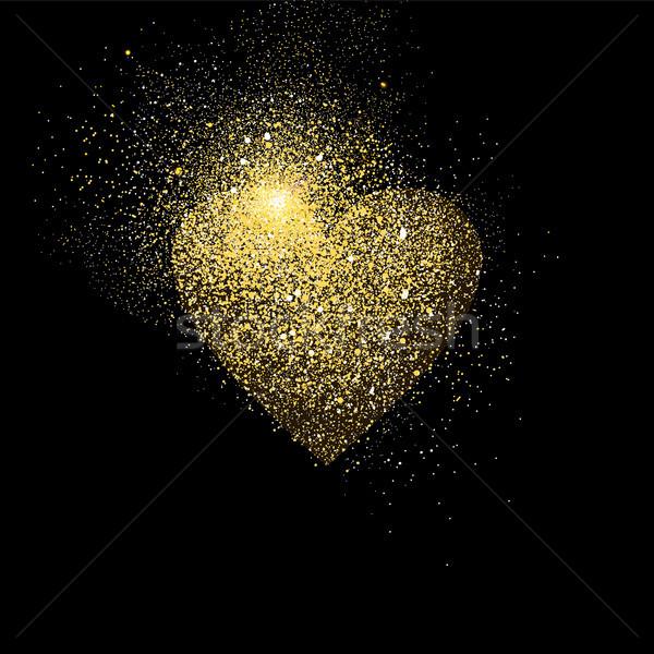 Heart gold glitter art concept symbol illustration Stock photo © cienpies