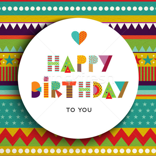 Buon compleanno party colore tipografia carta design Foto d'archivio © cienpies