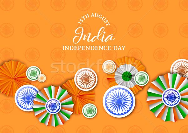 Hindistan gün rozet dekorasyon kart tebrik kartı Stok fotoğraf © cienpies