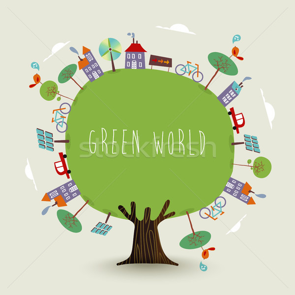 Green planet earth tree with sustainable city Stock photo © cienpies