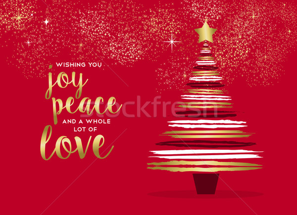 Allegro Natale oro pino carta Foto d'archivio © cienpies
