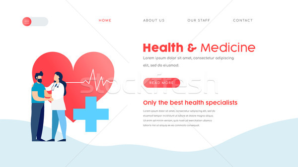 Medical landing page template for web doctor Stock photo © cienpies