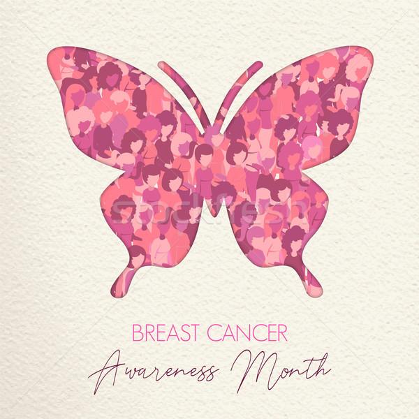 Câncer de mama cuidar rosa borboleta ajudar Foto stock © cienpies