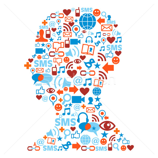 Human head silhouette with social icons  Stock photo © cienpies
