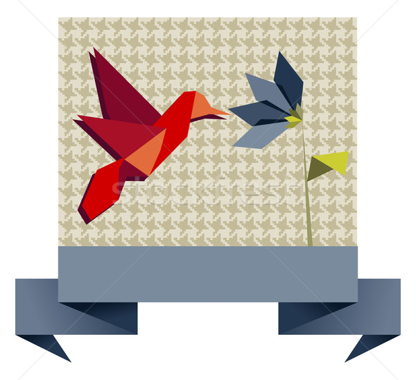 Single Origami hummingbird over textile pattern Stock photo © cienpies
