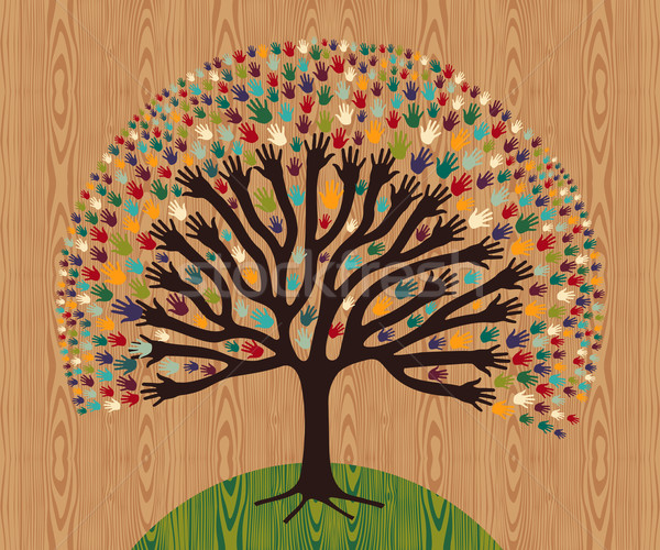 Stock photo: Diversity Tree hands over wooden pattern