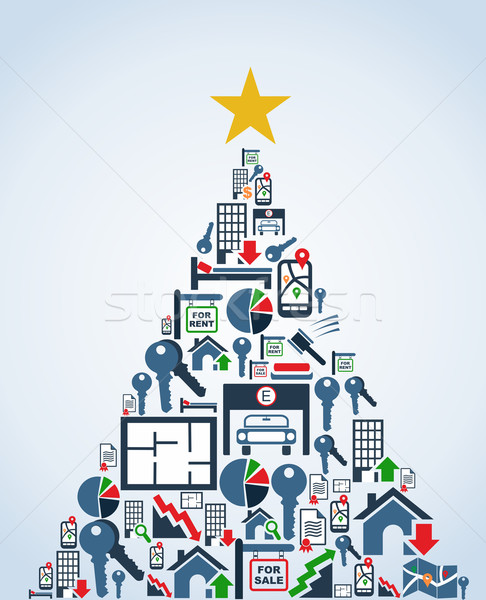 Real estate industry icons Christmas Tree Stock photo © cienpies