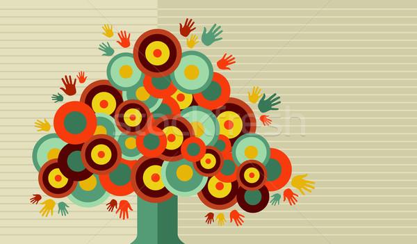 Stockfoto: Kleurrijk · vintage · hand · boom · ontwerp · cute