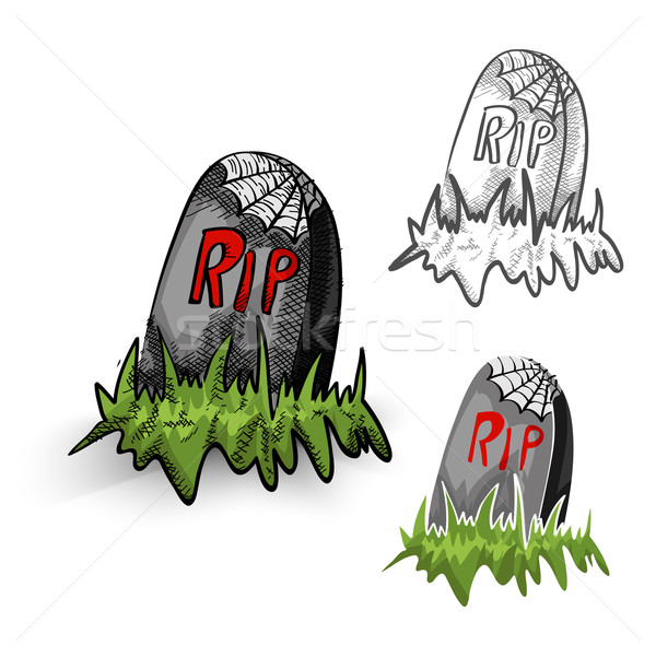 Halloween monsters isolated spooky tombstones set. Stock photo © cienpies
