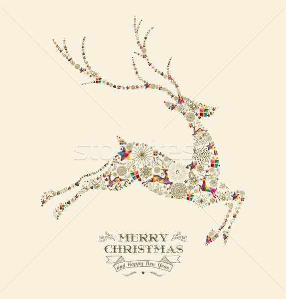 Foto d'archivio: Allegro · Natale · vintage · renne · biglietto · d'auguri · buon · anno