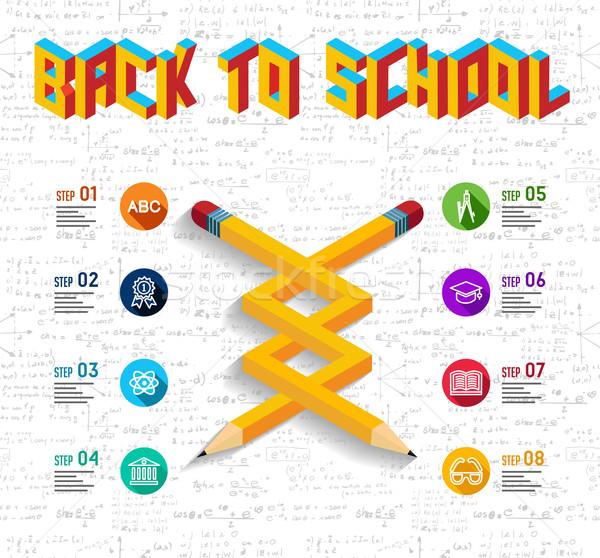 Vissza az iskolába infografika terv lehetetlen ceruza forma Stock fotó © cienpies