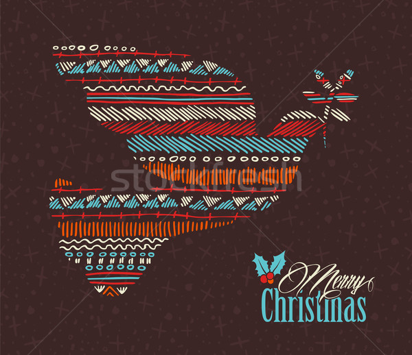 Merry christmas dove boho tribal stripe shape Stock photo © cienpies
