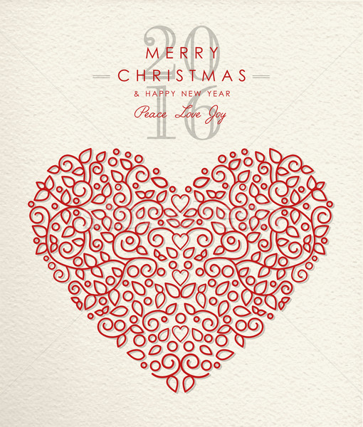 Merry christmas happy new year 2016 heart outline Stock photo © cienpies