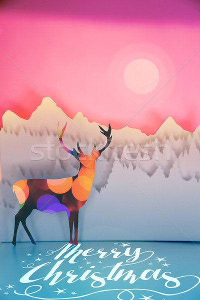 Stock photo: Merry christmas paper cut deer bokeh sunset forest