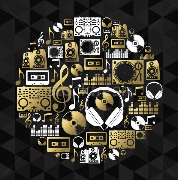 Music dj concept icon set vinyl cd shape gold Stock photo © cienpies