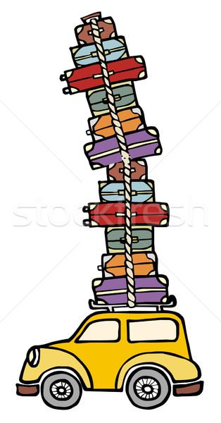 Foto stock: Diversão · carro · pronto · férias · ilustração · engraçado