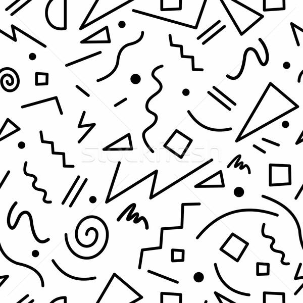Retro 80s blanco negro geométrico formas Foto stock © cienpies