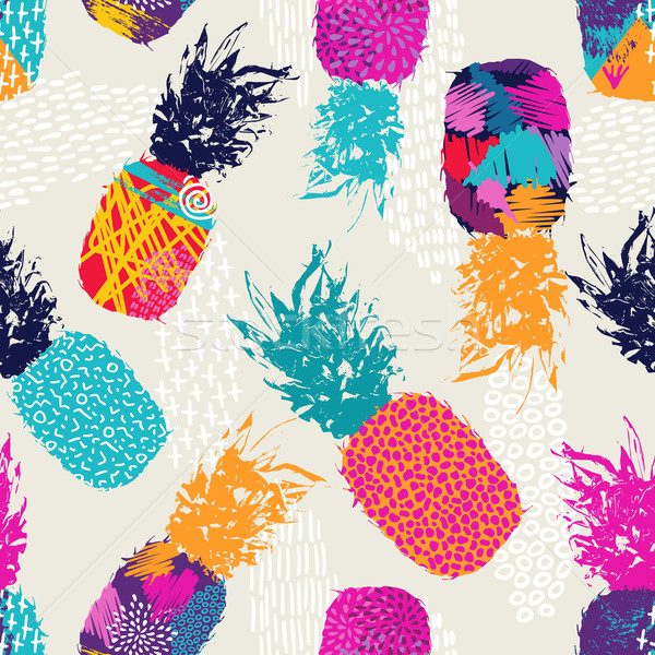 Color retro pineapple seamless pattern for summer Stock photo © cienpies