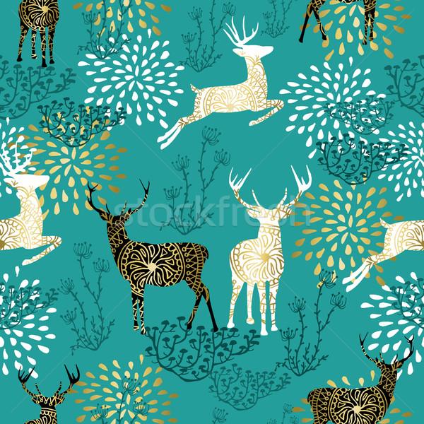 Christmas deer decoration pattern background Stock photo © cienpies