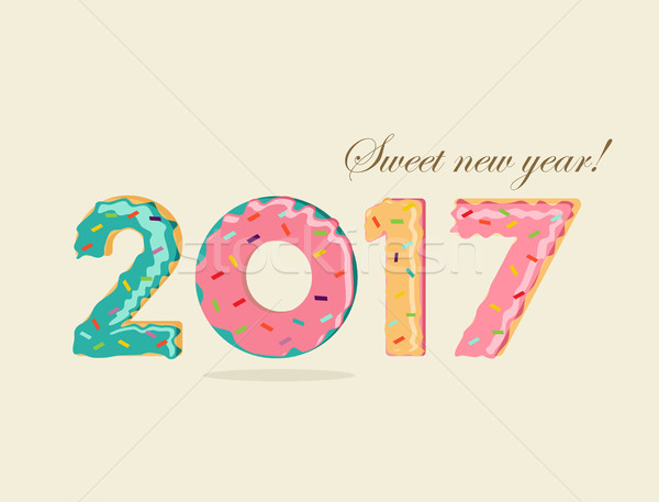 Happy new year amusement dessert donut gâteau carte Photo stock © cienpies