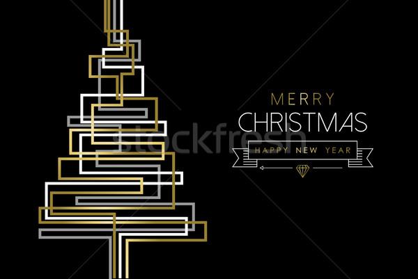 Vrolijk christmas nieuwjaar goud abstract pijnboom Stockfoto © cienpies