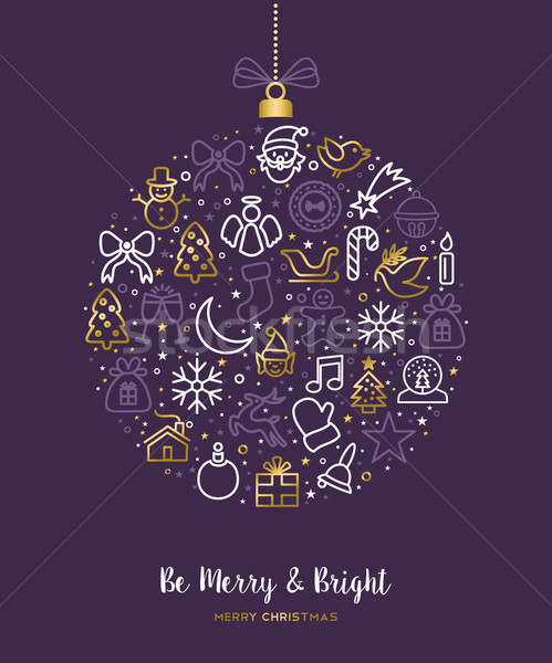 Christmas outline gold icon ornament card design  Stock photo © cienpies