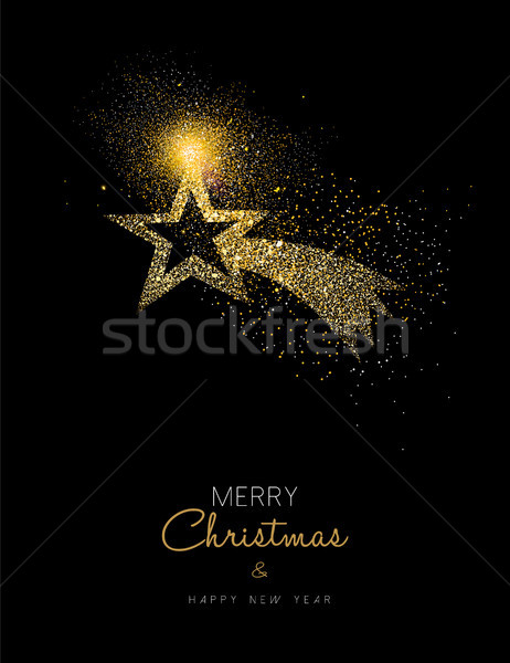 Stock photo: Christmas and new year gold glitter star design