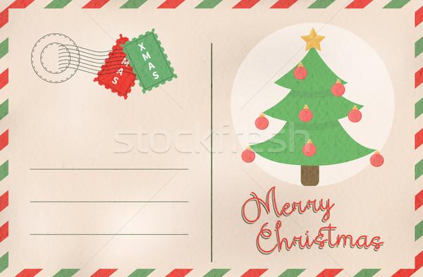Heiter Weihnachten Retro Kiefer Urlaub Postkarte Stock foto © cienpies