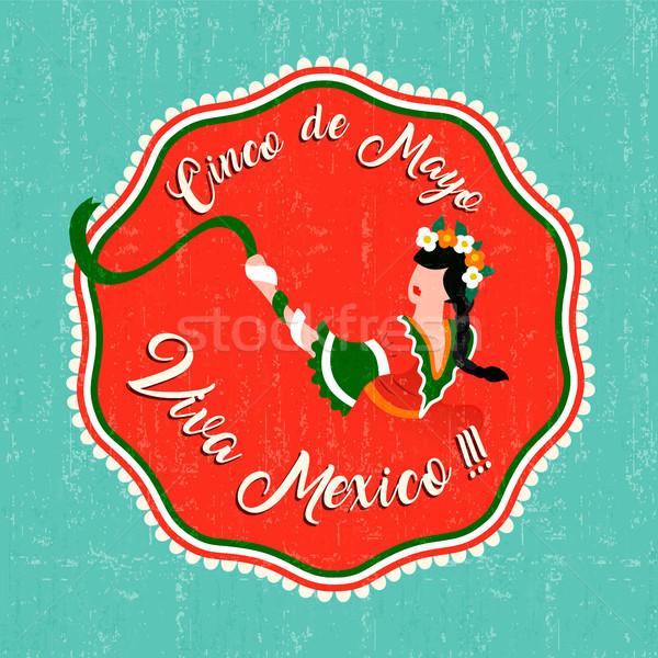 Happy cinco de mayo party card with mexican woman Stock photo © cienpies