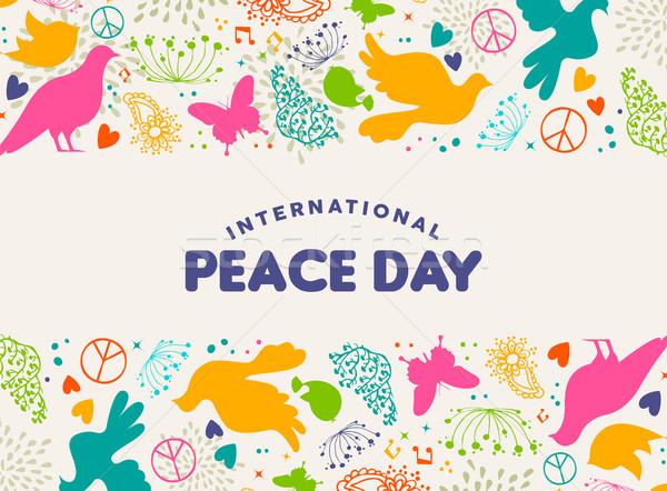 Międzynarodowych pokoju dzień dove ptaków ikona Zdjęcia stock © cienpies