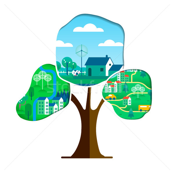 Green city tree concept for environment care Stock photo © cienpies
