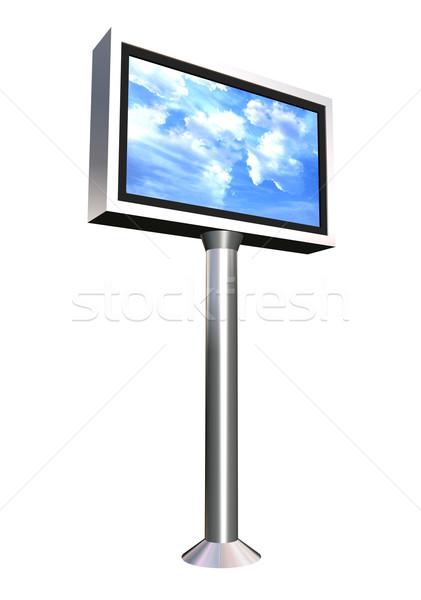 Billboard lcd display toren bewolkt hemel Stockfoto © cienpies
