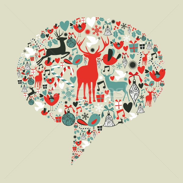 Christmas social media speech bubble Stock photo © cienpies