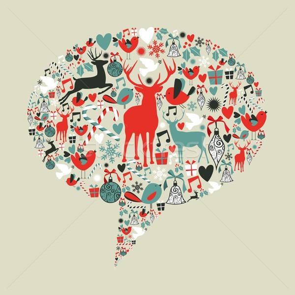Noel sosyal medya konuşma balonu ağlar Stok fotoğraf © cienpies