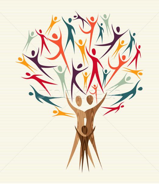 Diversity people tree set Stock photo © cienpies