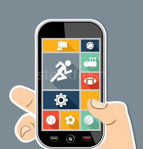 Mão humana móvel colorido esportes ui aplicativos Foto stock © cienpies