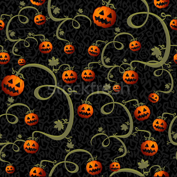 Stock photo: Halloween spooky pumpkins seamless pattern background EPS10 file