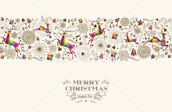 Vintage Christmas reindeer seamless pattern Stock photo © cienpies